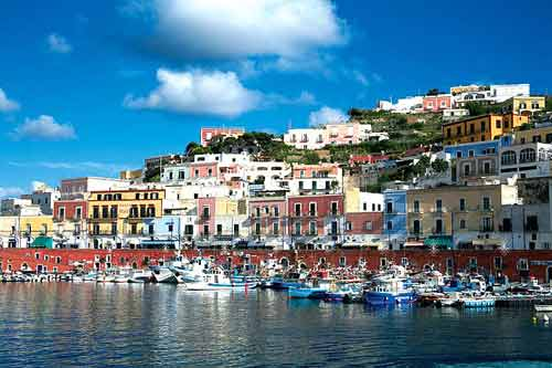 A view of Ponza. Book now our Ponza boat excursion tour from Rome, a fun and relaxing day with swimming and snorkeling in one of the gems of the mediterrenean.