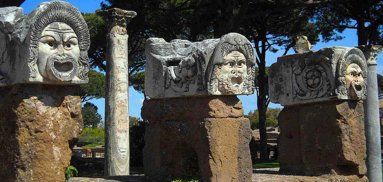 The famous theatre masks in Ostia Antica