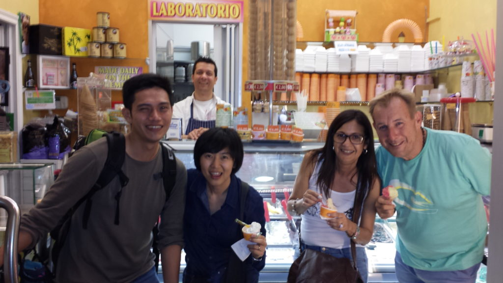 Enjoying artisan gelato during our walking dusk tour of Rome