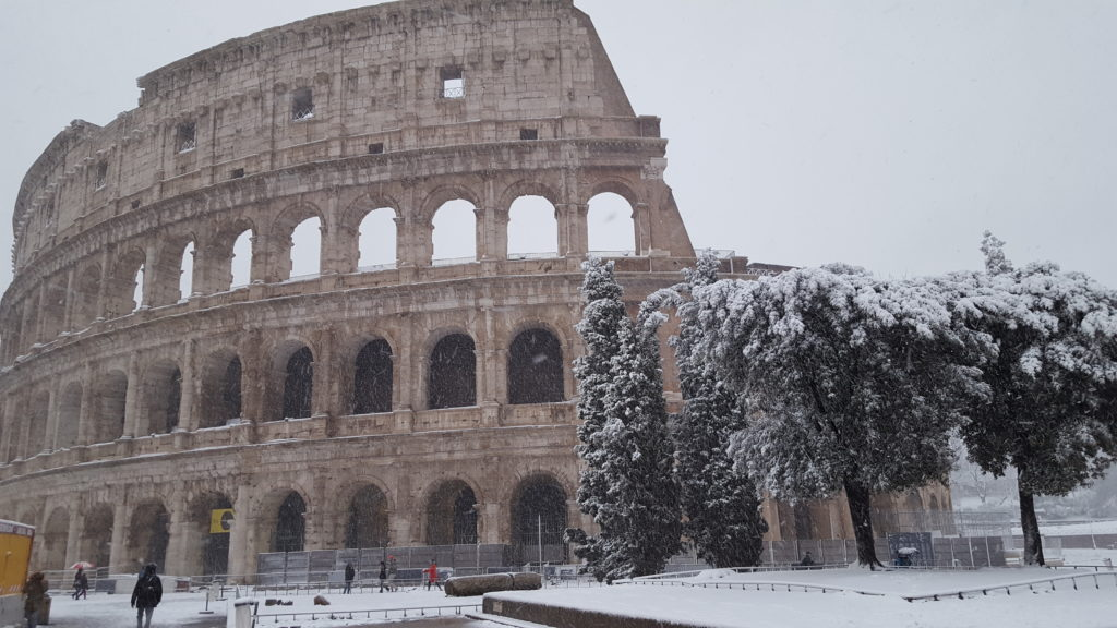 Snow on the Colosseum