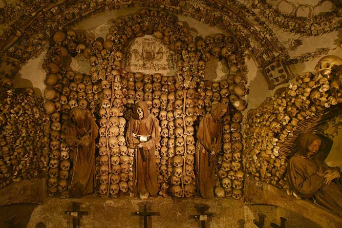 Chamber of the skulls seen on our Catacomb tour of Rome