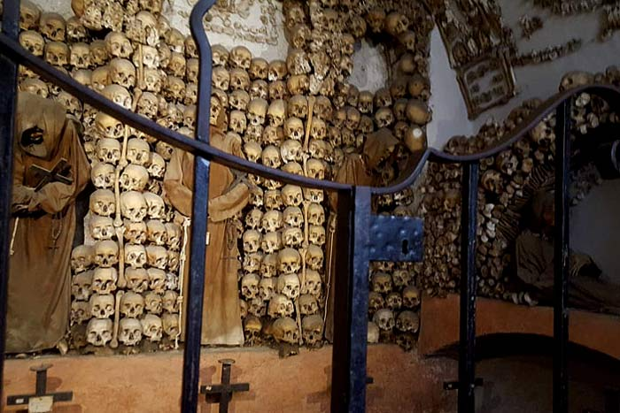 Chamber of Skulls visited on our Catacombs tour of Rome