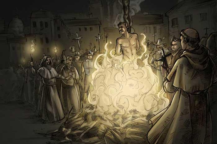 The lone statue of Giordano Bruno in Campo de Fiori Rome a site visited on the Criminal tour of Rome