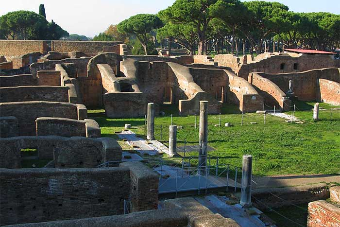 Hot baths of Neptune a site visited on the Ostia Antica tour. Join our private Tour in Ostia Antica